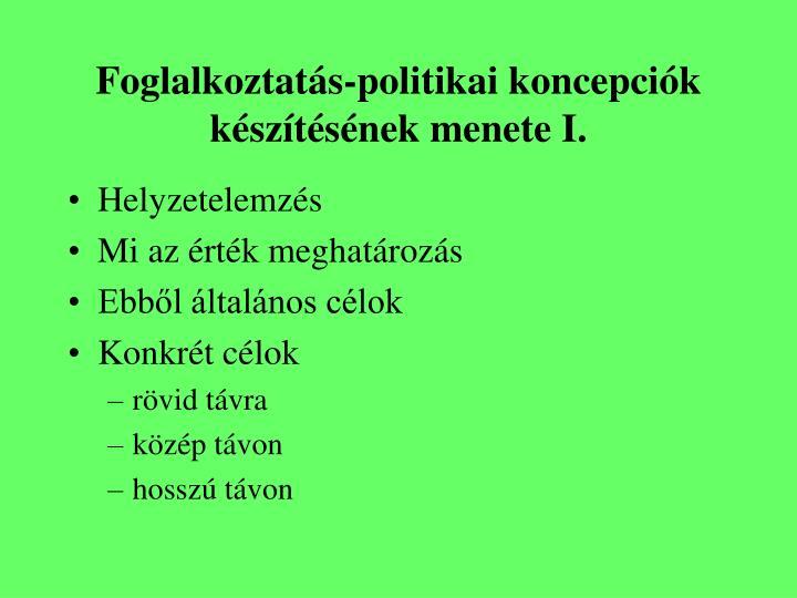 Foglalkoztatás-politikai koncepciók készítésének menete I.