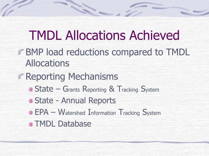 TMDL Allocations Achieved