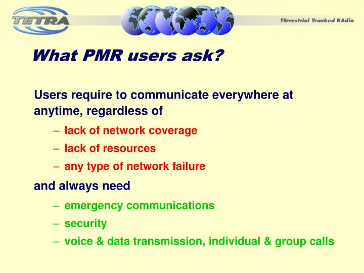 What PMR users ask?