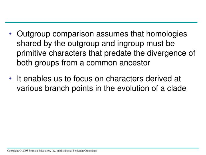 Outgroup comparison assumes that homologies shared by the outgroup and ingroup must be primitive characters that predate the divergence of both groups from a common ancestor