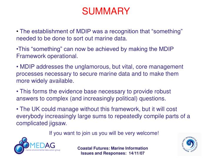 "The establishment of MDIP was a recognition that ""something"" needed to be done to sort out marine data."