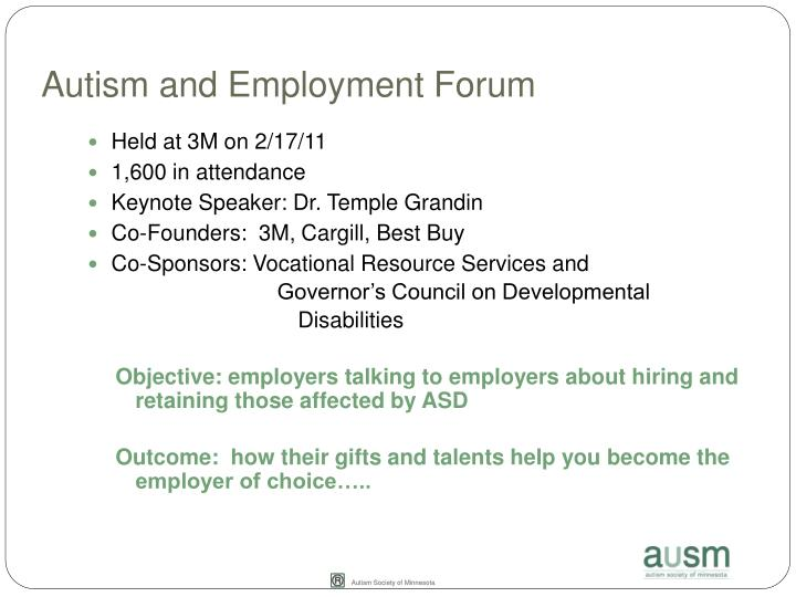Autism and Employment Forum