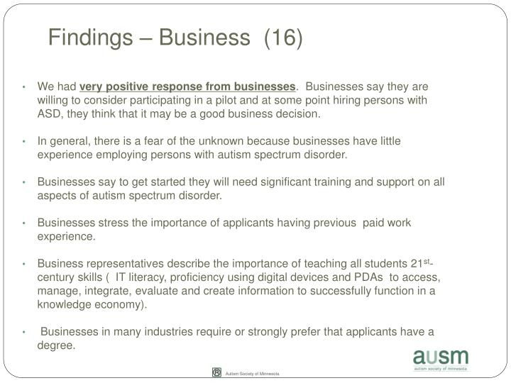 Findings – Business  (16)