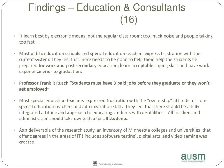 Findings – Education & Consultants(16)