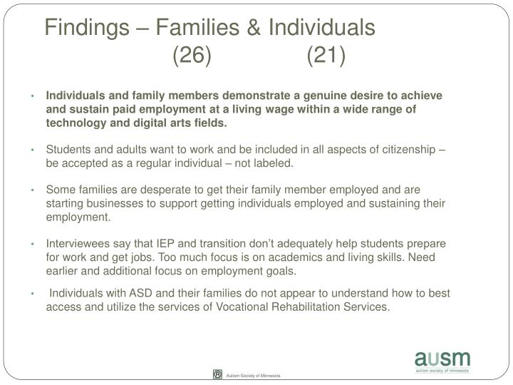 Findings – Families & Individuals