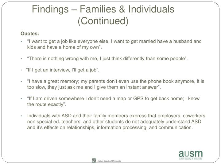 Findings – Families & Individuals (Continued)