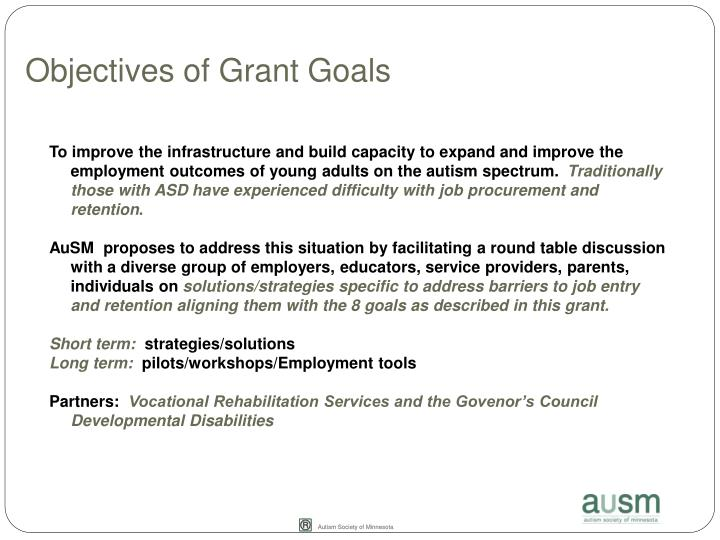 Objectives of Grant Goals