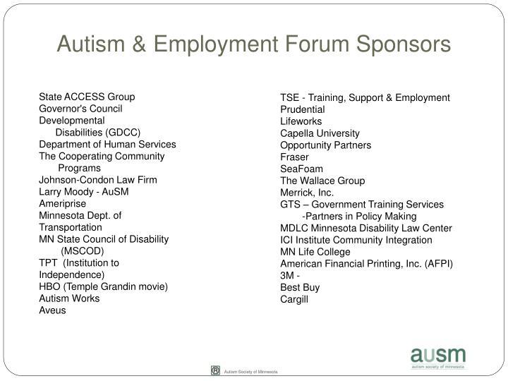 Autism & Employment Forum Sponsors