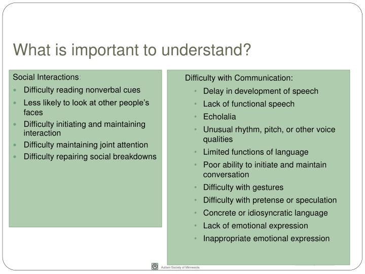 What is important to understand?