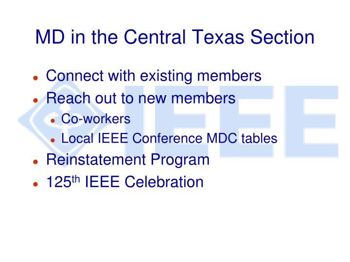 MD in the Central Texas Section