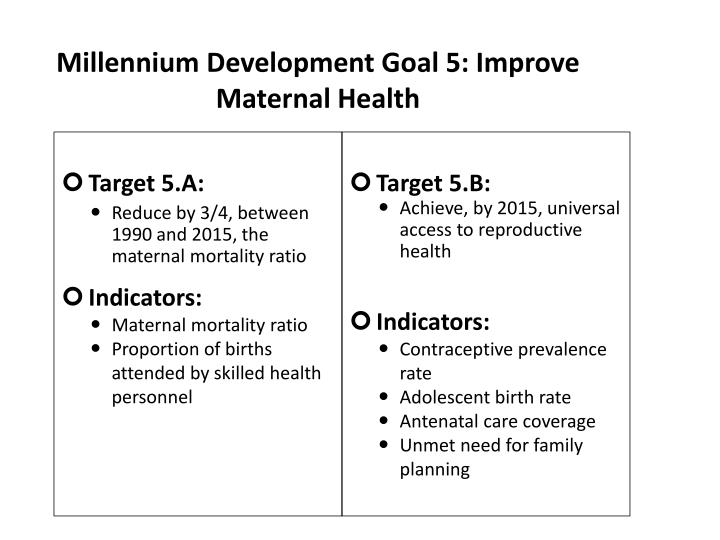 Millennium Development Goal 5: Improve Maternal Health
