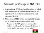 rationale for change of tba roles