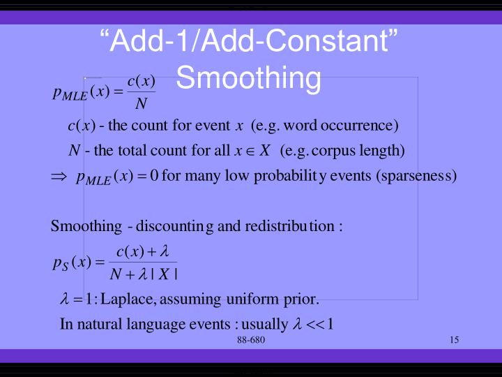 """""""Add-1/Add-Constant"""" Smoothing"""