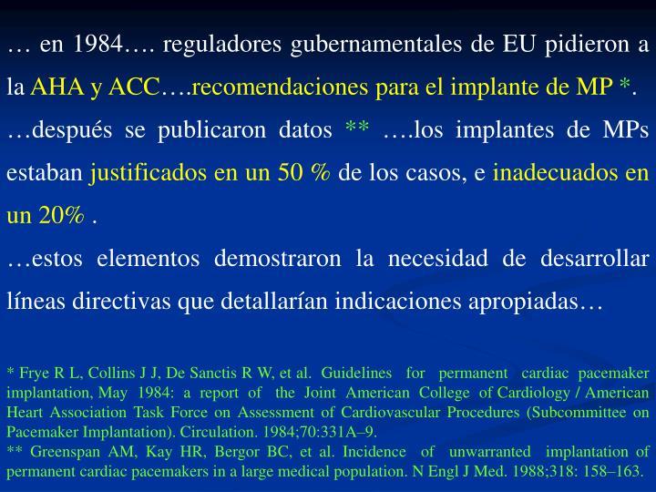 … en 1984…. reguladores gubernamentales de EU pidieron a la