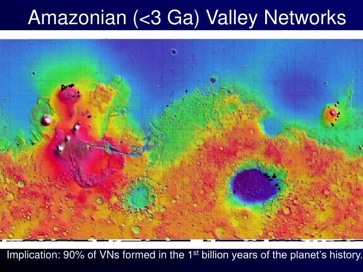 Amazonian (<3 Ga) Valley Networks