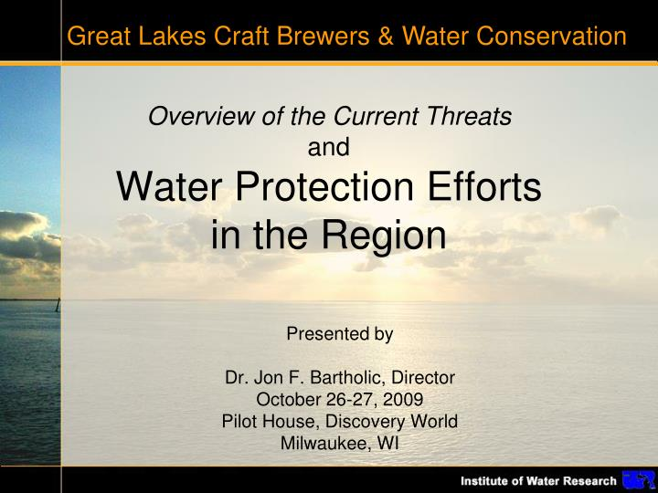 Great Lakes Craft Brewers & Water Conservation