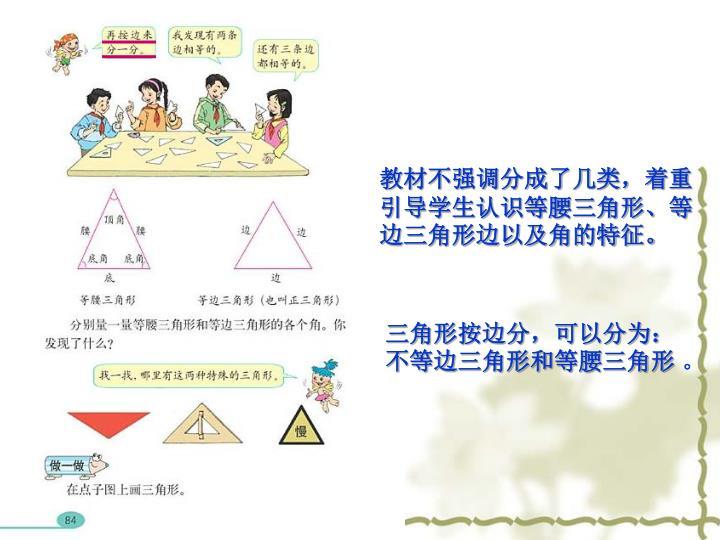 教材不强调分成了几类,着重引导学生认识等腰三角形、等边三角形边以及角的特征。