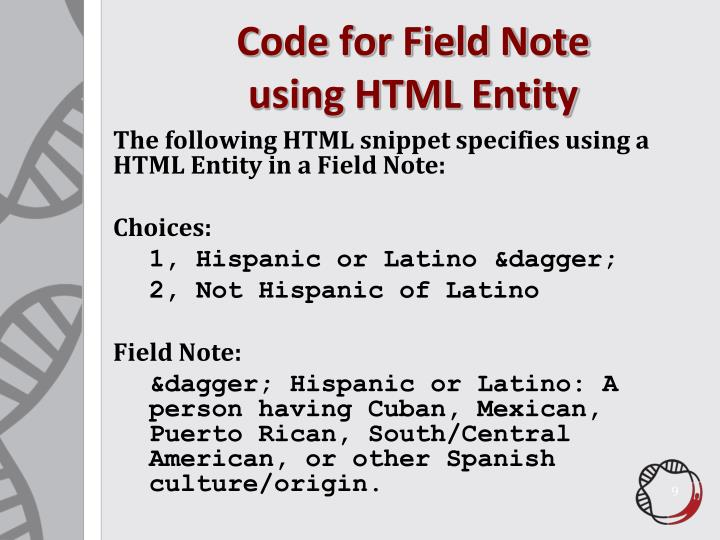 Code for Field Note