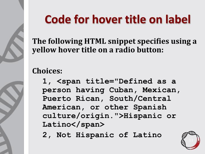 Code for hover title on label
