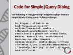 code for simple jquery dialog