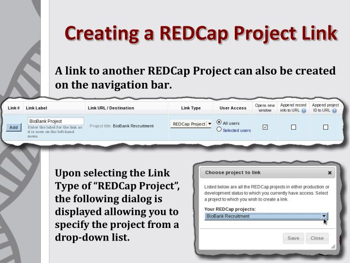 Creating a REDCap Project Link