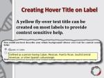 creating hover title on label