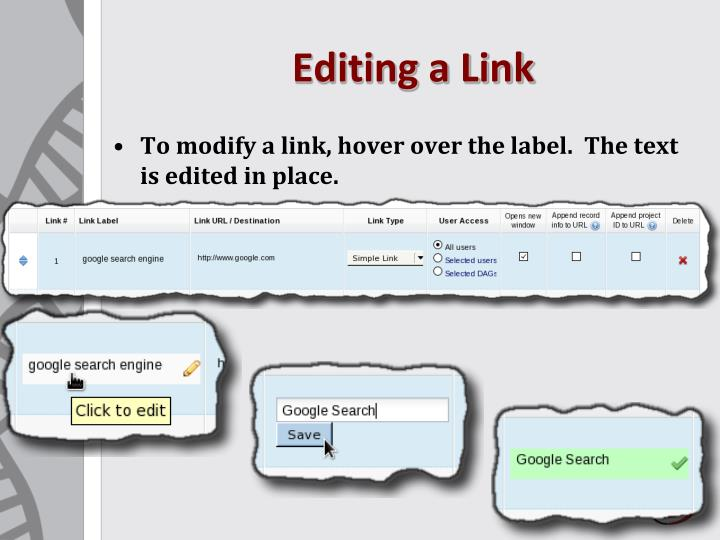Editing a Link