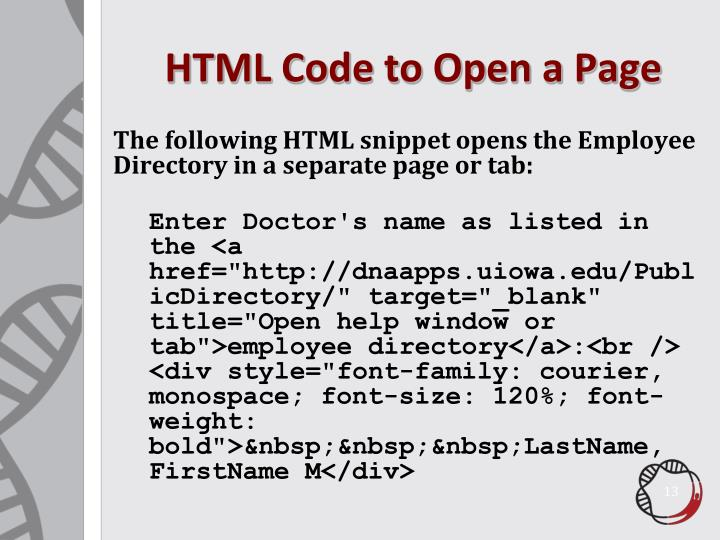 HTML Code to Open a Page