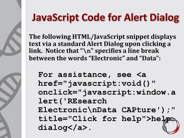 JavaScript Code for Alert Dialog
