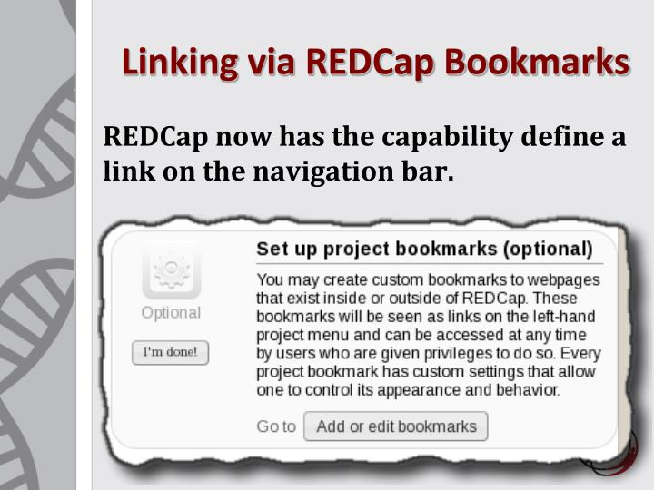 Linking via REDCap Bookmarks