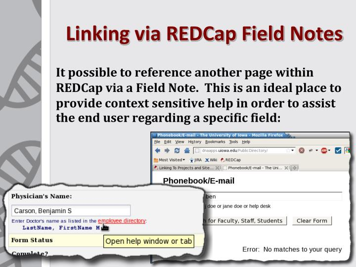 Linking via REDCap Field Notes