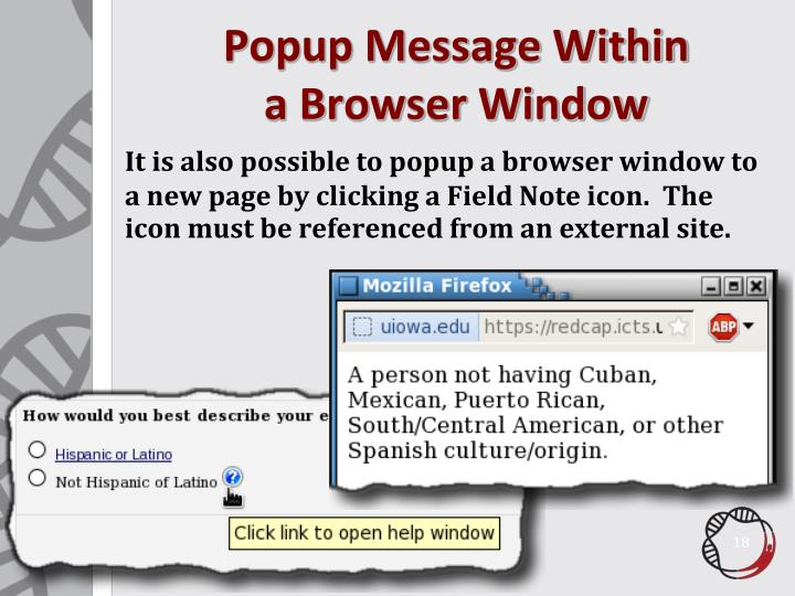 Popup Message Within
