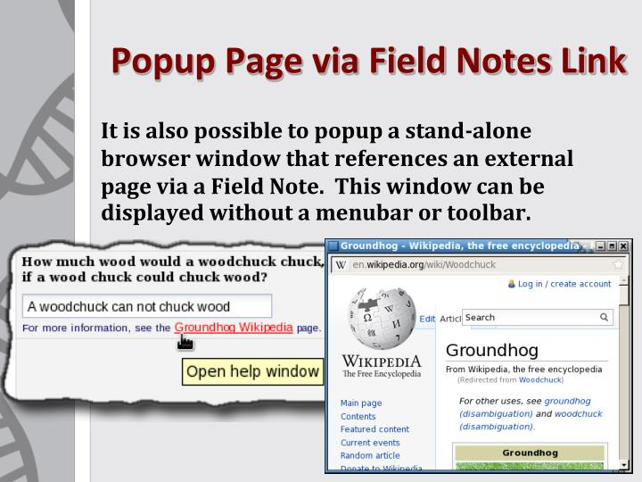 Popup Page via Field Notes Link
