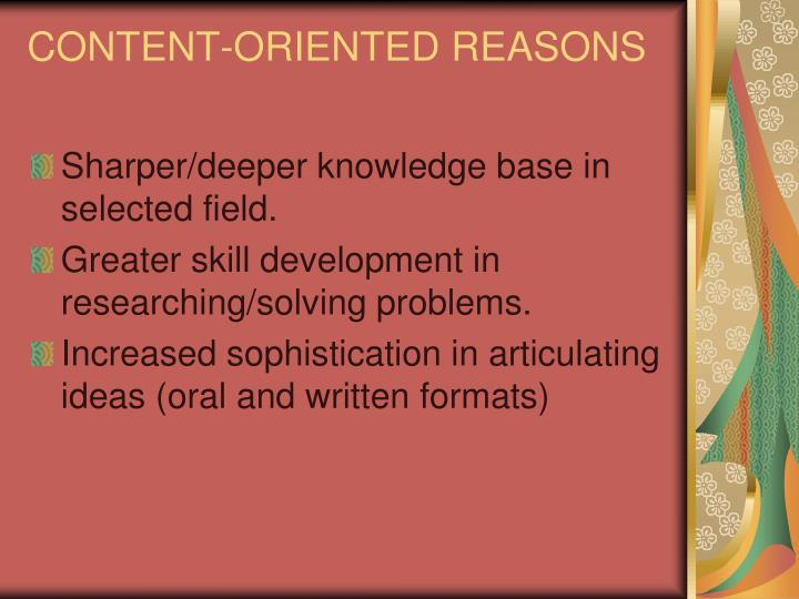 CONTENT-ORIENTED REASONS