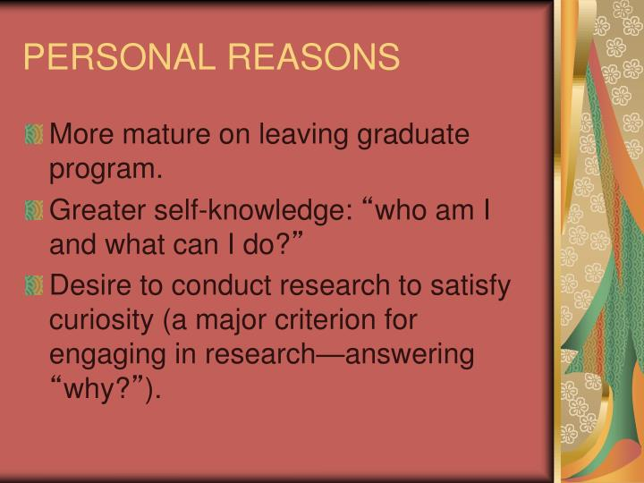 PERSONAL REASONS