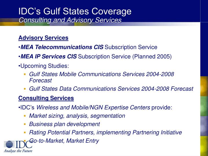 IDC's Gulf States Coverage