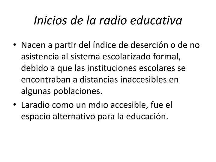Inicios de la radio educativa