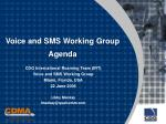 voice and sms working group agenda