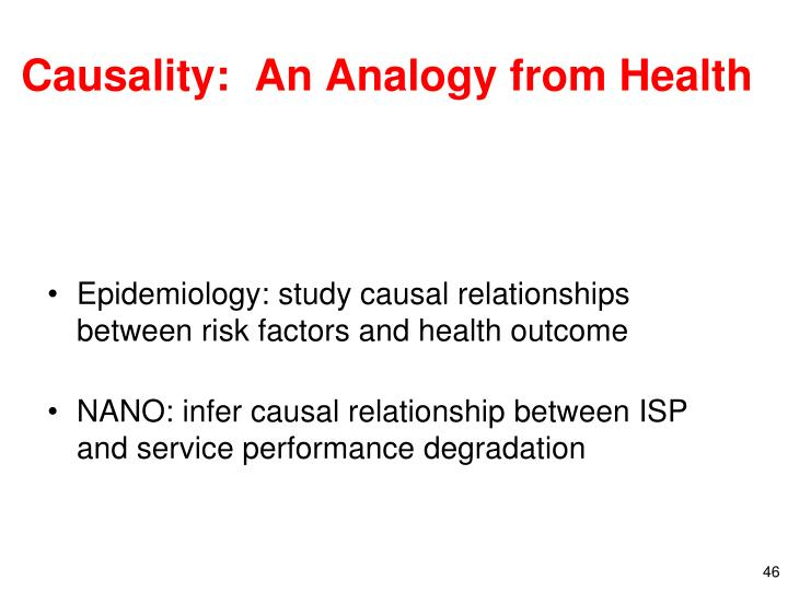 Causality:  An Analogy from Health