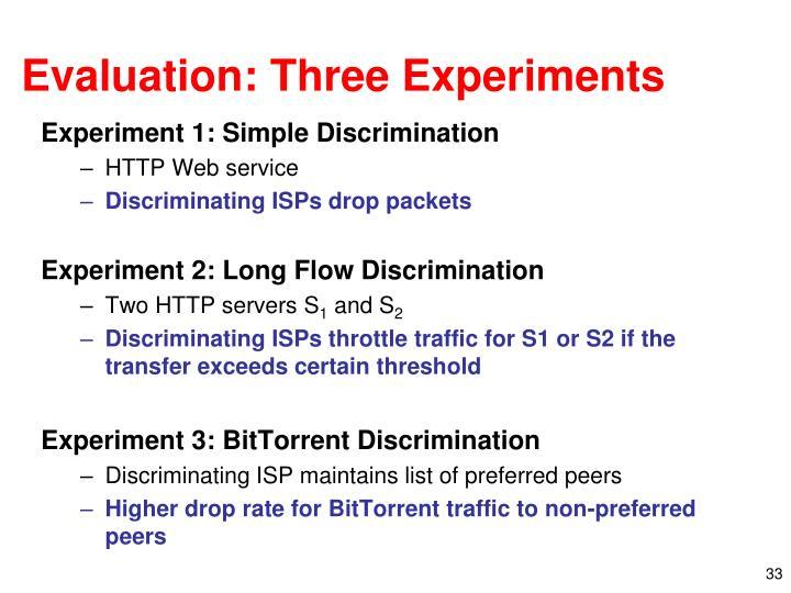 Evaluation: Three Experiments