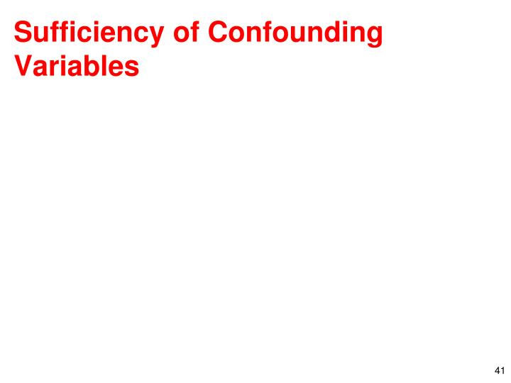 Sufficiency of Confounding Variables