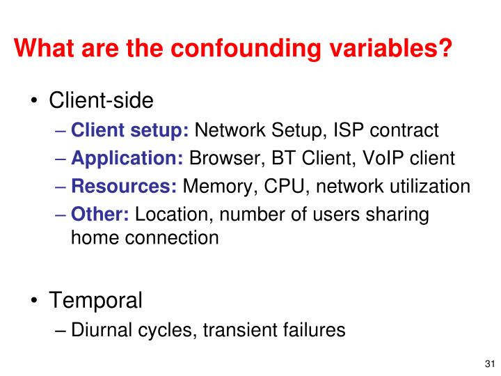 What are the confounding variables?