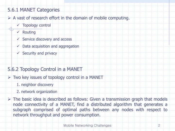 5.6.1 MANET Categories