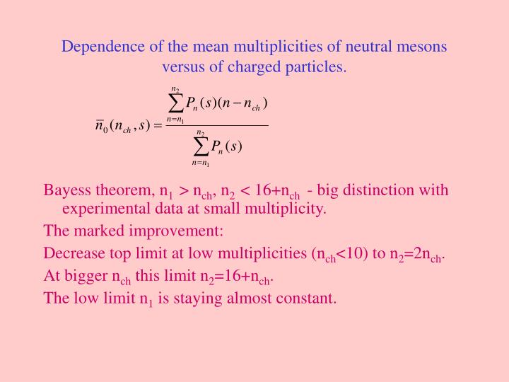 Dependence of the mean multiplicities of neutral mesons versus of charged particles.