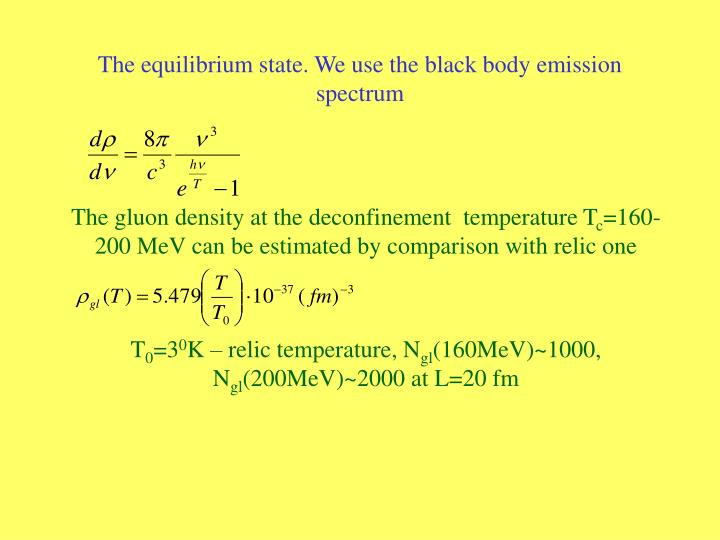 The equilibrium state. We use the black body emission spectrum