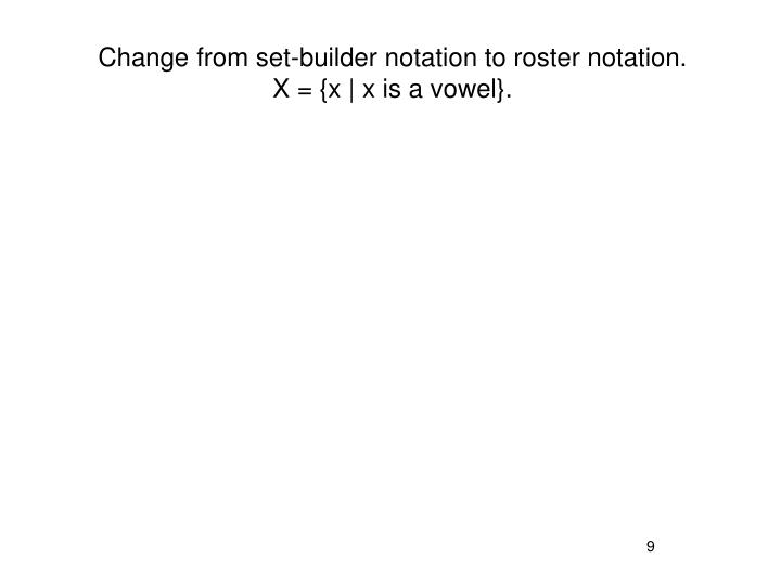 Change from set-builder notation to roster notation.