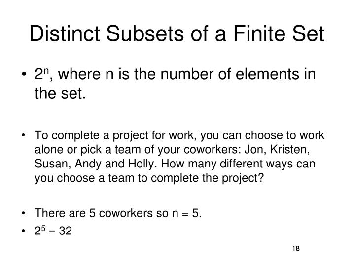 Distinct Subsets of a Finite Set