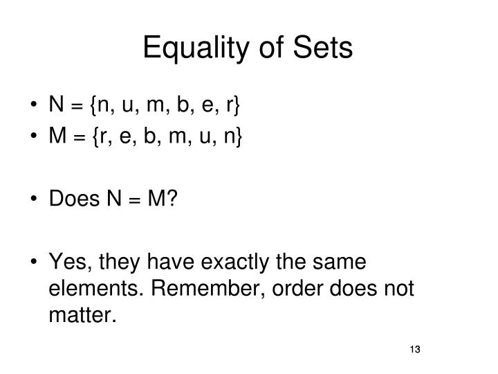 Equality of Sets