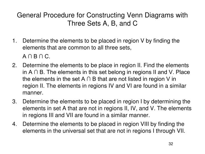 General Procedure for Constructing Venn Diagrams with Three Sets A, B, and C