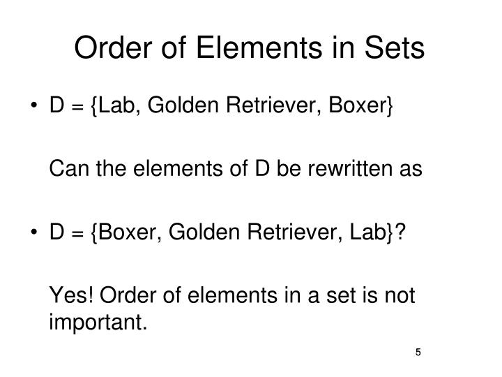 Order of Elements in Sets
